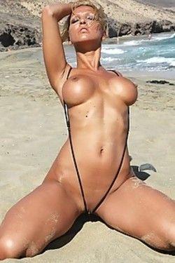 Timea in micro sling bikini